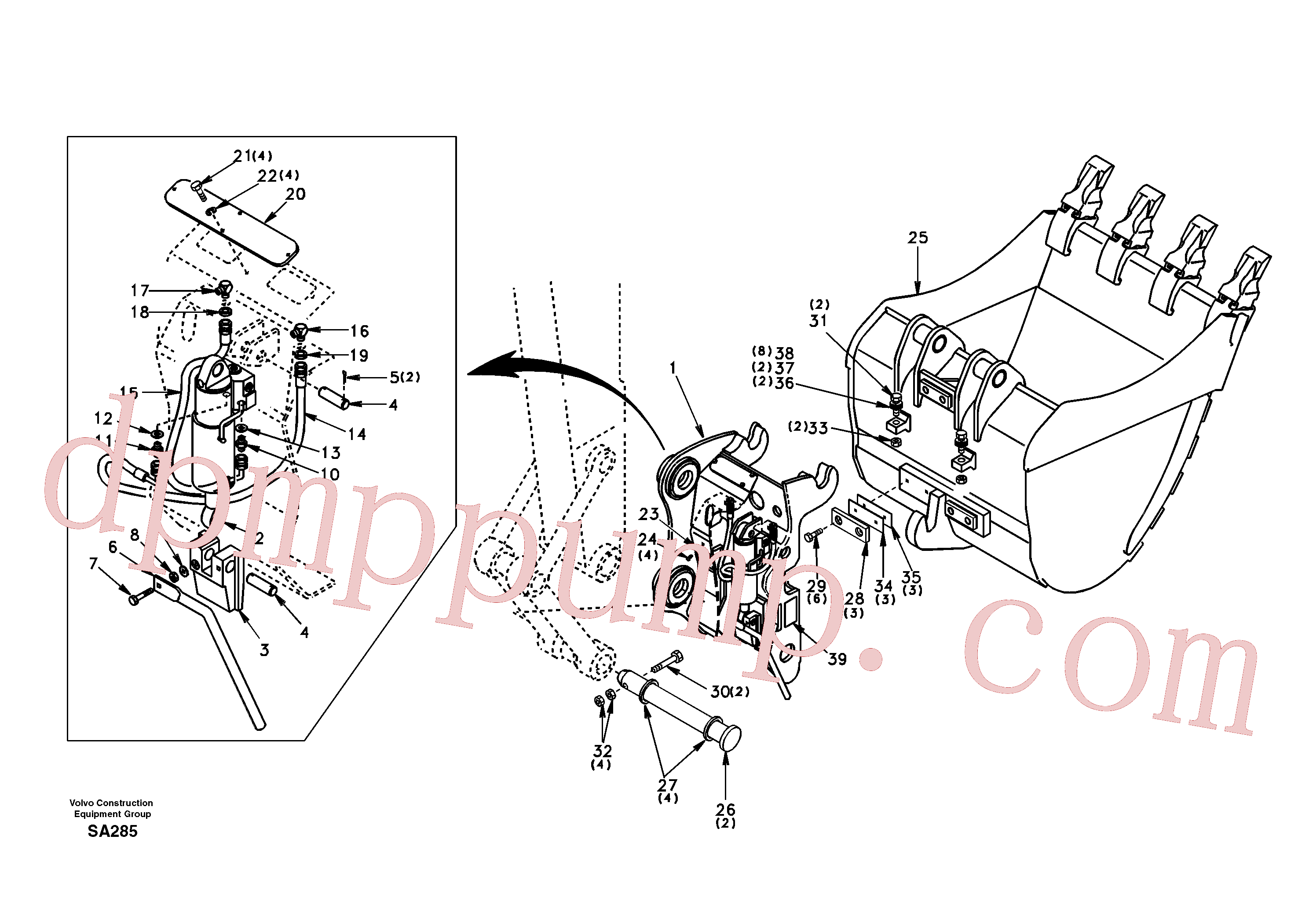 SA1171-75360 for Volvo Attachment bracket, quickfit(SA285 assembly)