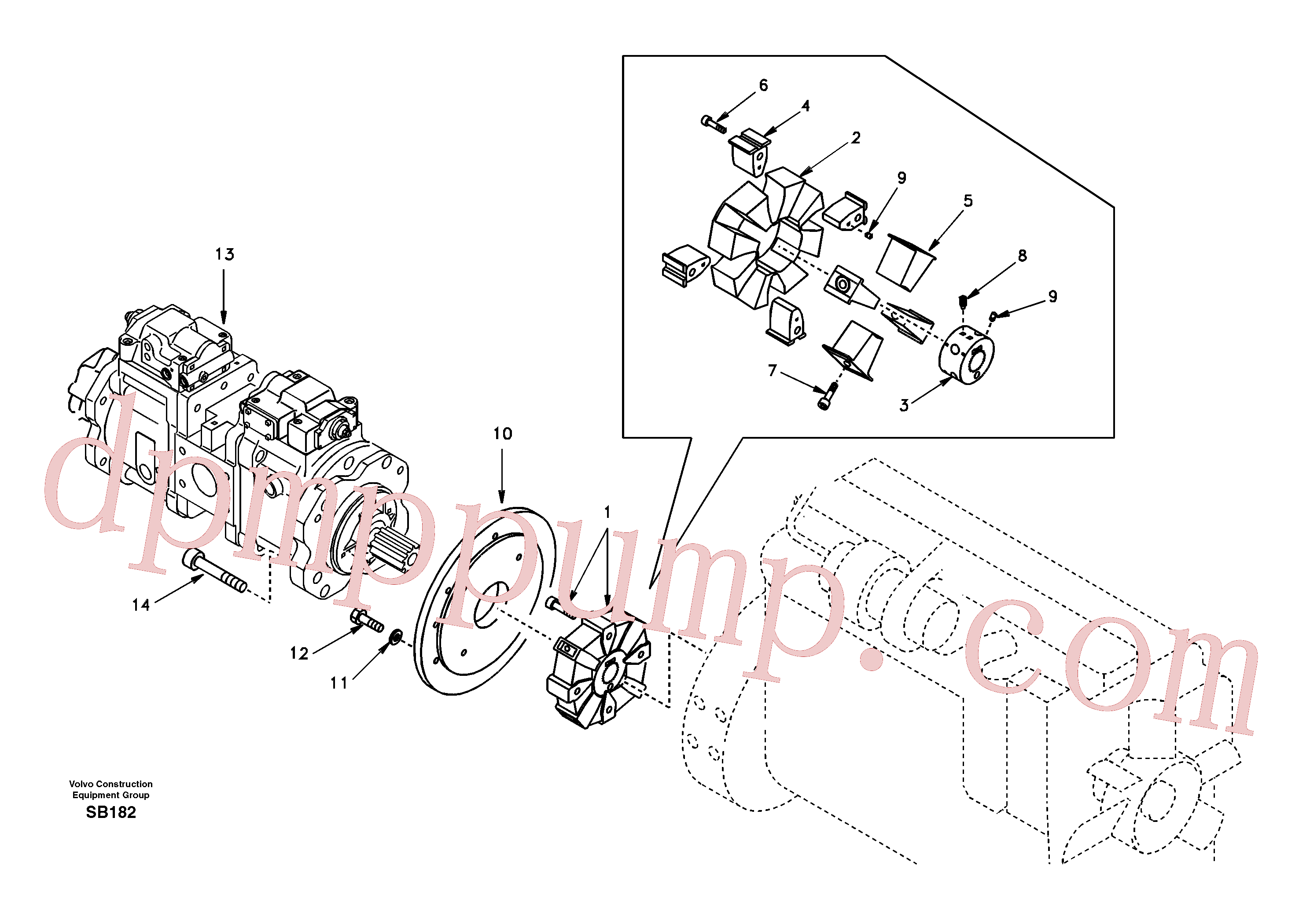 SA9016-12010 for Volvo Pump gearbox with assembling parts(SB182 assembly)