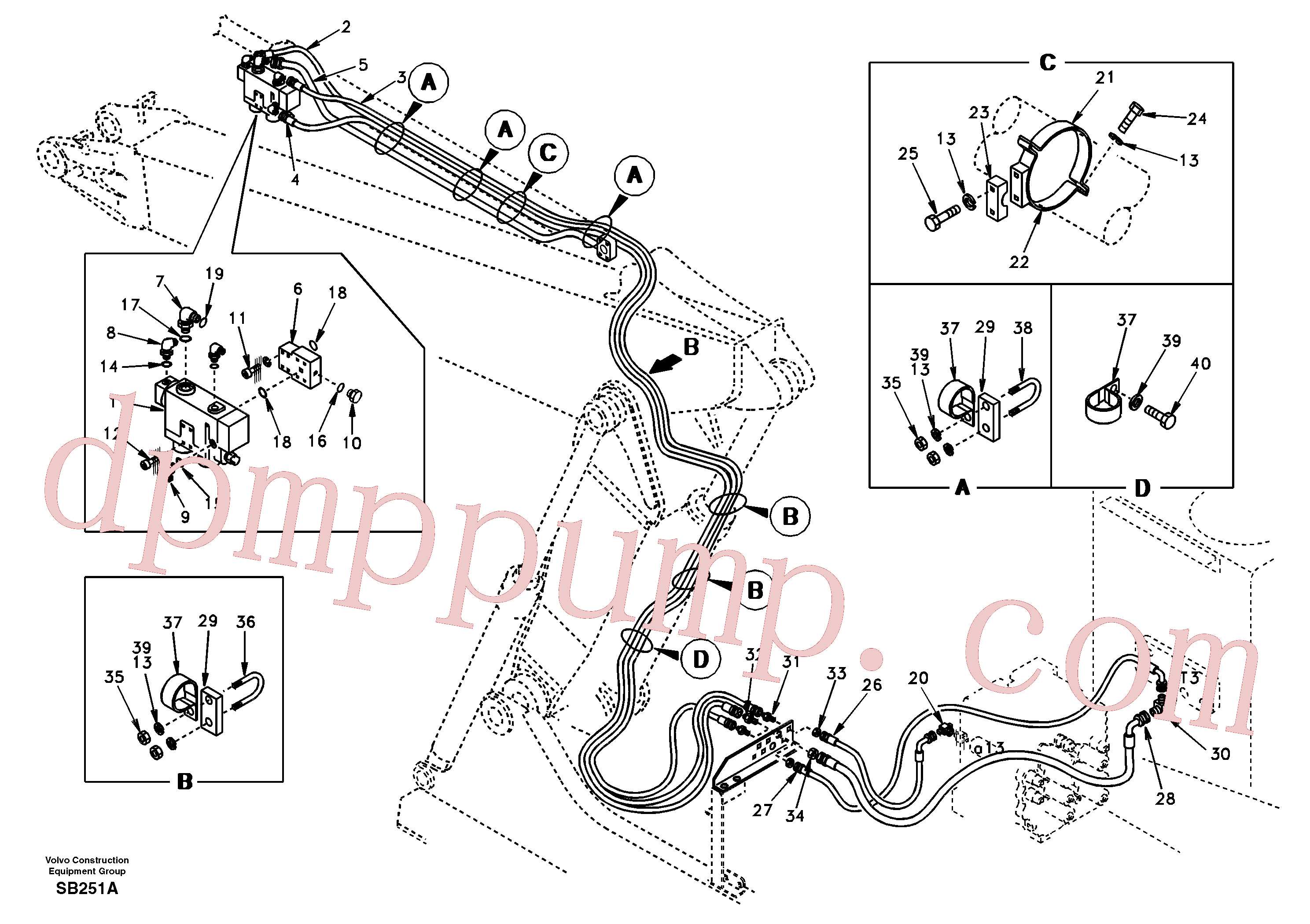 SA9466-03340 for Volvo Working hydraulic, dipper arm rupture and adjustable boom(SB251A assembly)