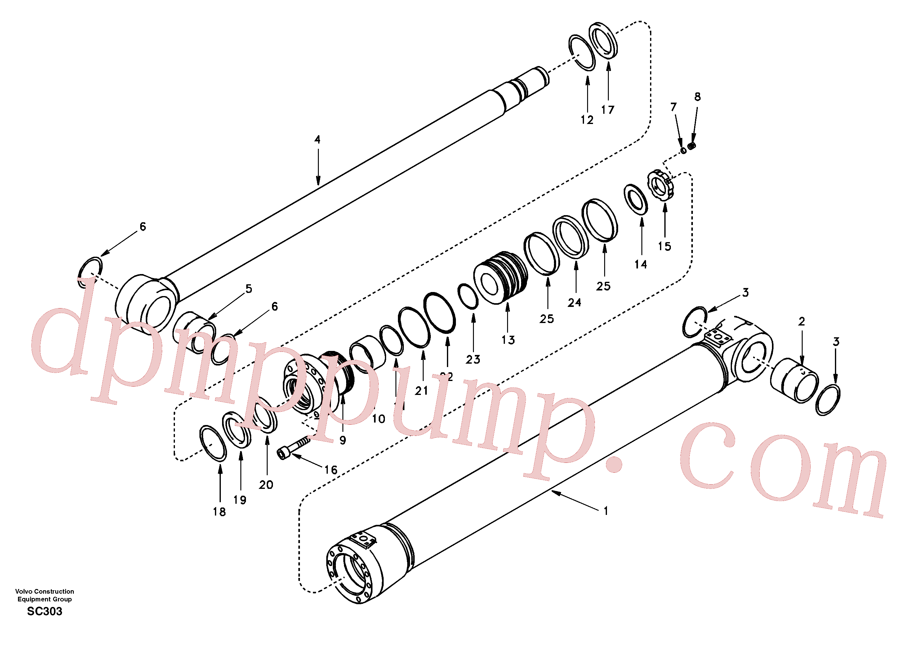 SA9016-12012 for Volvo Boom cylinder 2nd boom(SC303 assembly)