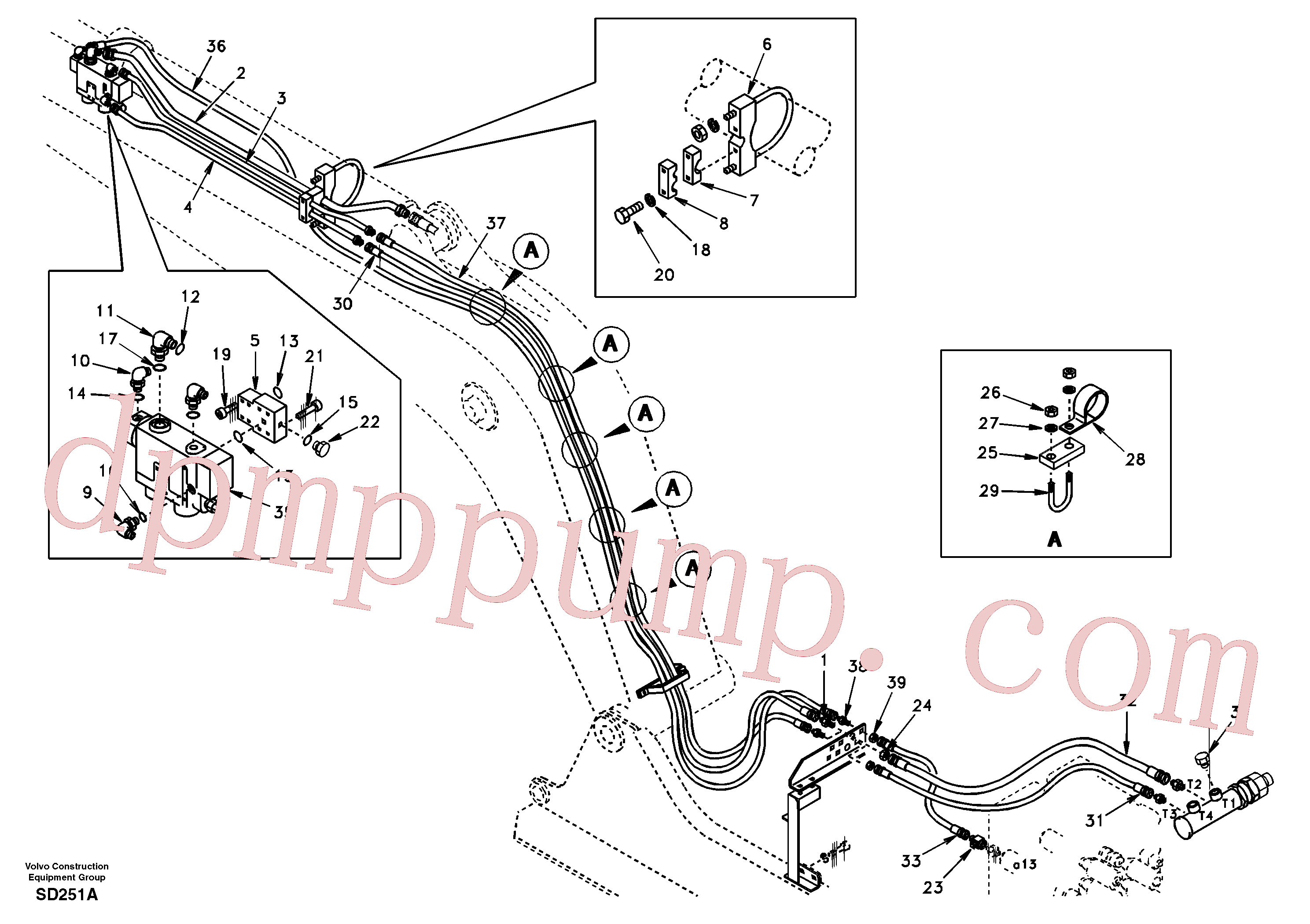 SA9466-03301 for Volvo Working hydraulic, dipper arm rupture(SD251A assembly)