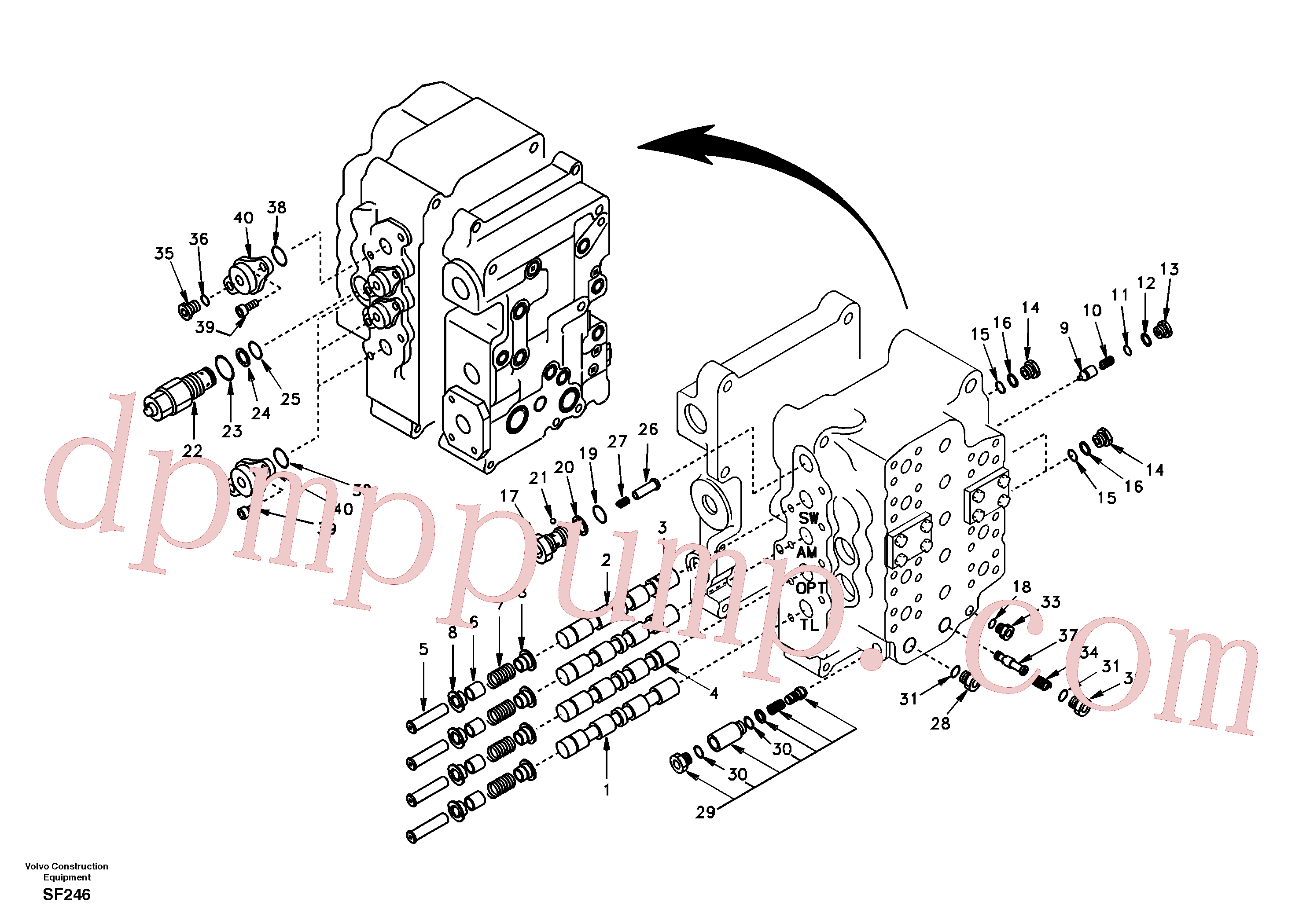 SA8230-10470 for Volvo Main control valve, swing and option and dipper arm and travel Lh(SF246 assembly)