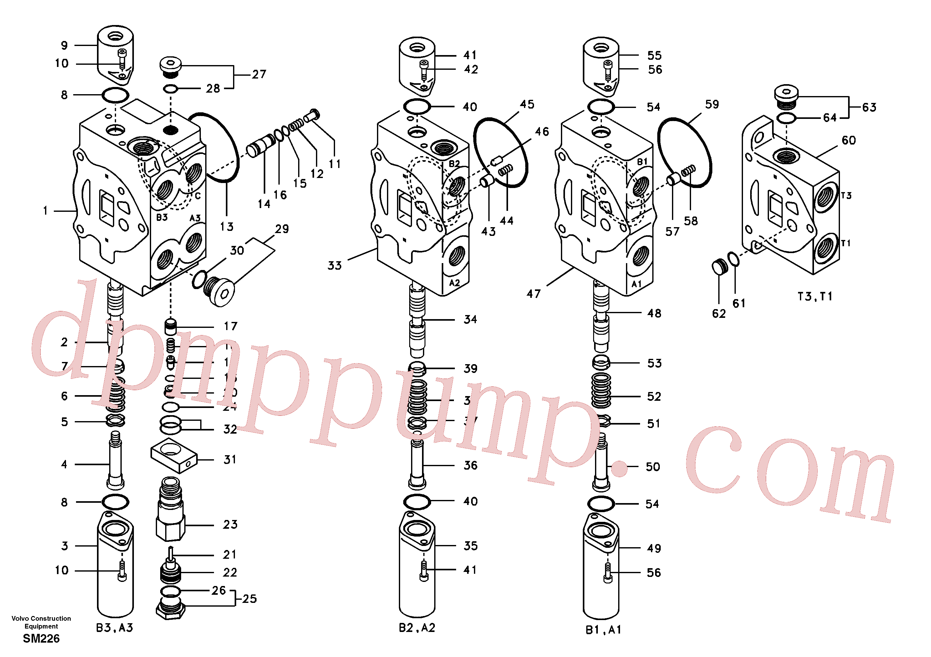 SA8230-07240 for Volvo Main control valve, boom 1 and bucket and dipper arm 2 and outlet.(SM226 assembly)