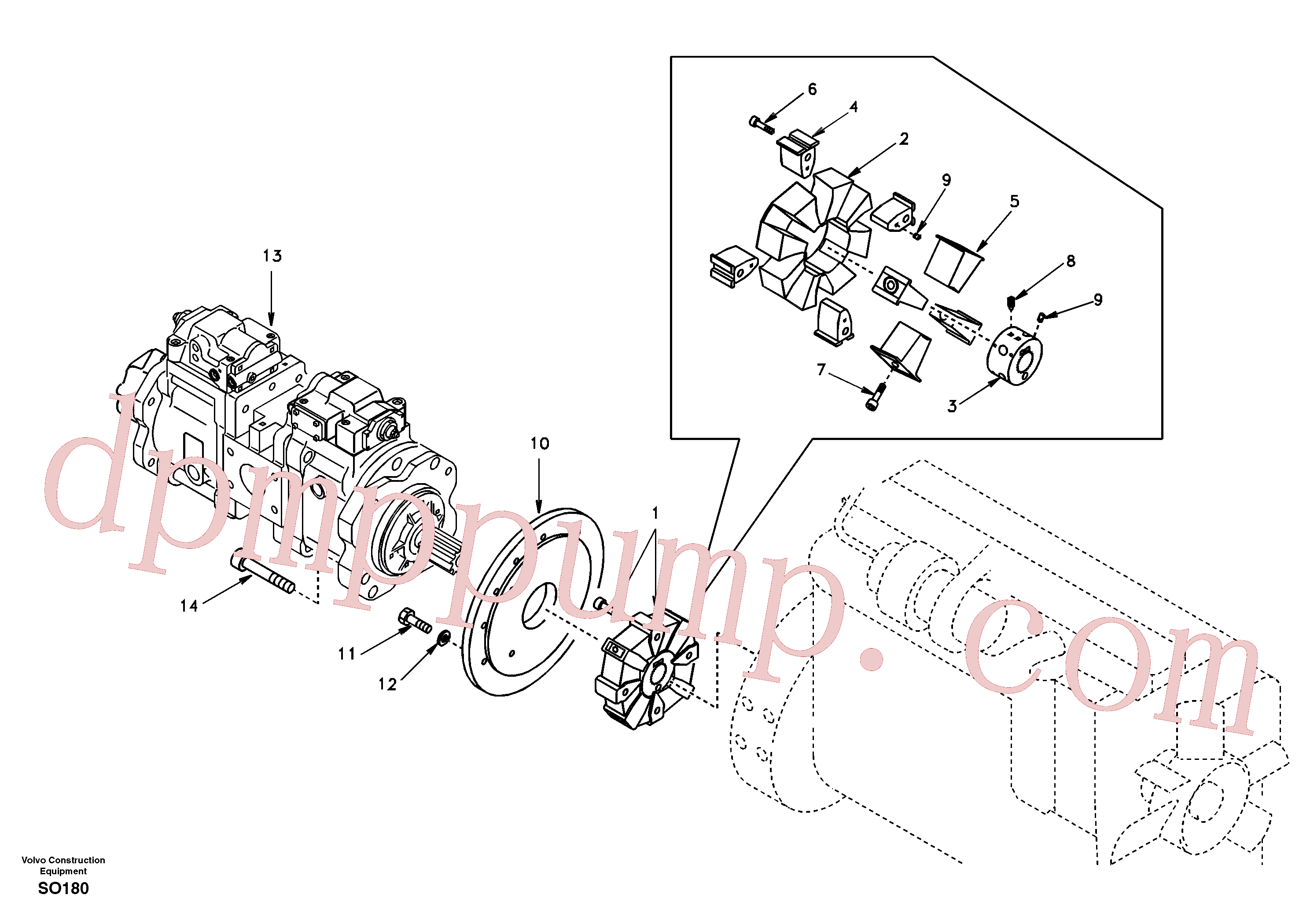 SA14509686 for Volvo Pump gearbox with assembling parts(SO180 assembly)