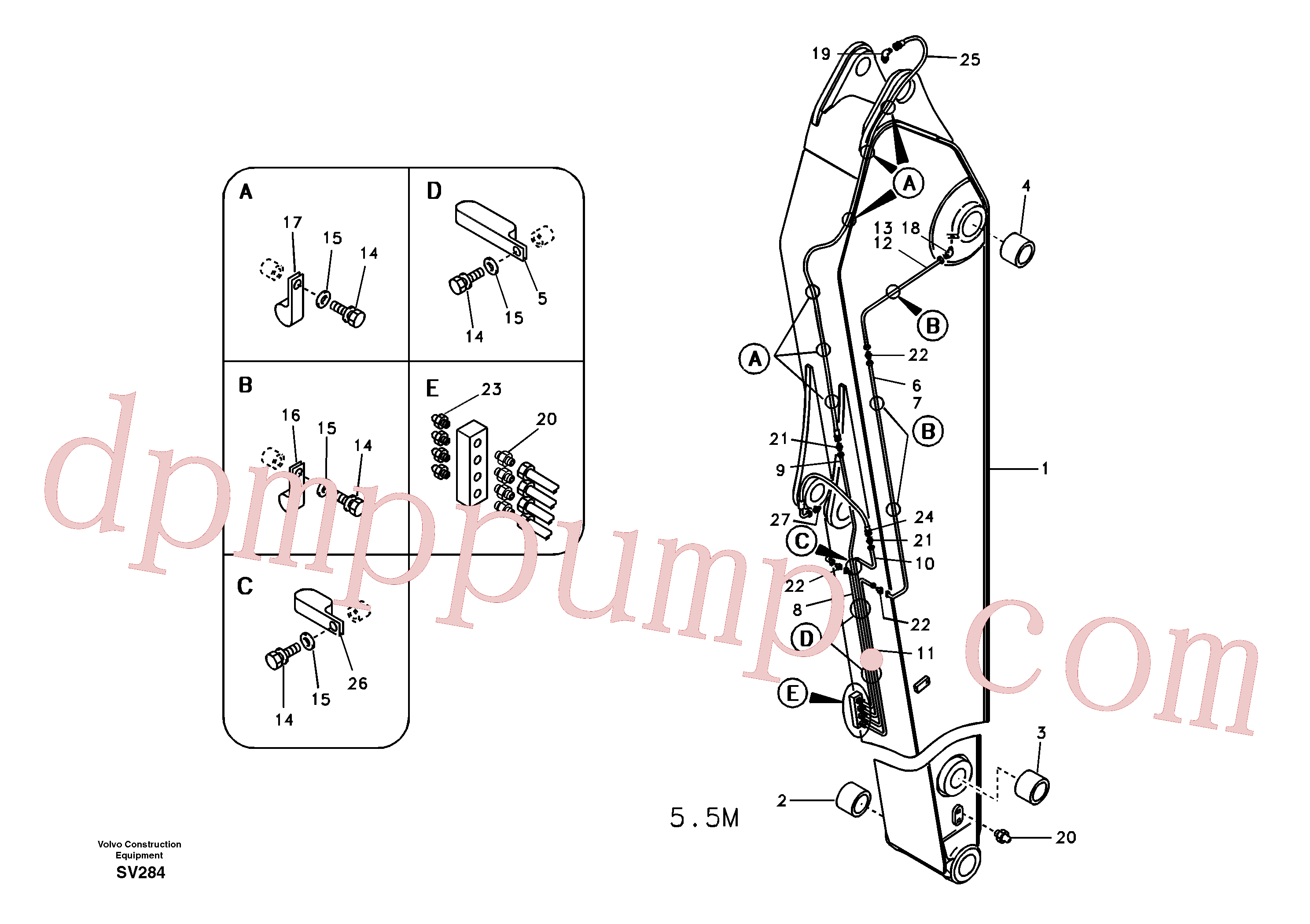 VOE14547982 for Volvo Dipper arm and grease piping with piping seat, long reach(SV284 assembly)